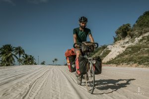 Cycling in Brazil on a sand road