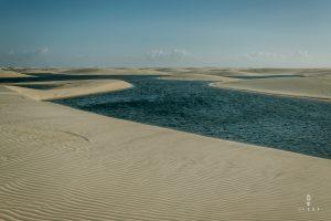 Blue water lagoons in lencois maranhenses