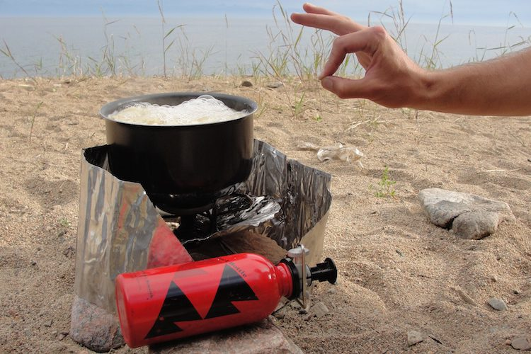 Cooking pasta on MSR Whisperlite camping stove