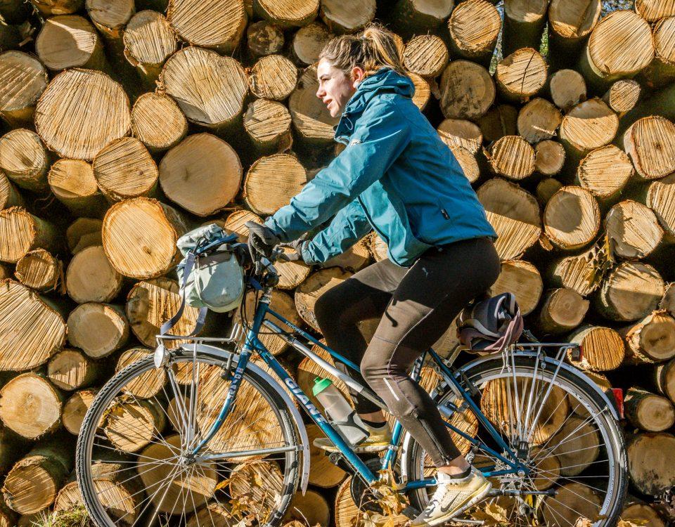 poseren voor boomstammen