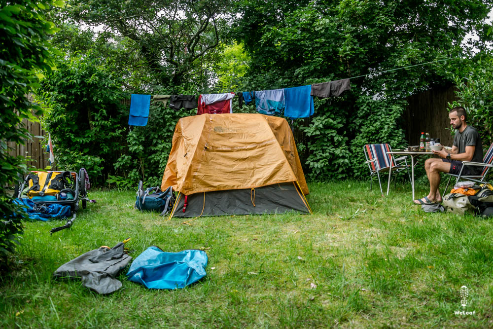 camping in the yard