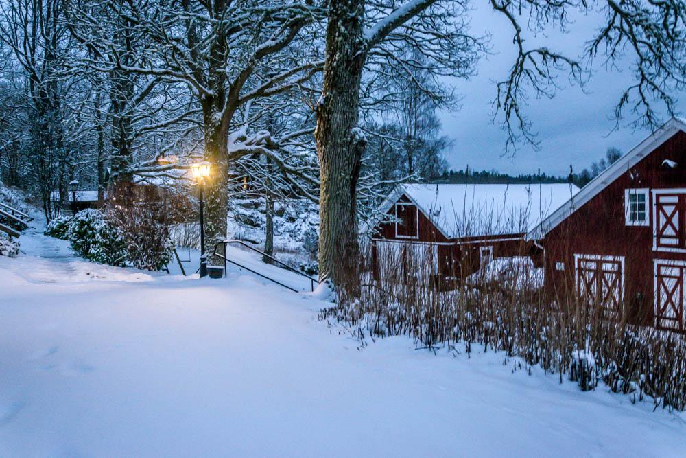 swedish houses in winter